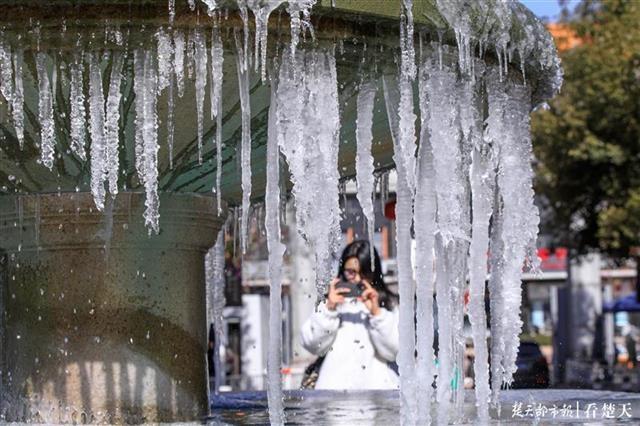 太冷啦!武汉这所高校的喷泉冻出一米长冰挂